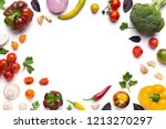 organic fresh vegetables frame... | Shutterstock . vector #1213270297