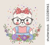 cute cat girl with glasses ... | Shutterstock .eps vector #1213280461