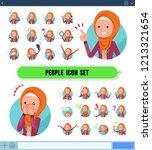 a set of women wearing hijab... | Shutterstock .eps vector #1213321654