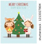 cute little girls in animal...   Shutterstock .eps vector #1213327804