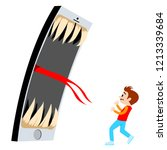 telephone scare the child.... | Shutterstock .eps vector #1213339684