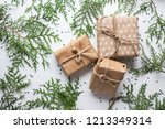 gift boxes on white table and... | Shutterstock . vector #1213349314