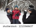 father  mother and son playing... | Shutterstock . vector #1213368637