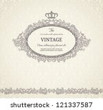 vintage background with crown... | Shutterstock .eps vector #121337587