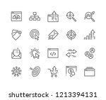 Stock vector simple set of seo related vector line icons contains such icons as increase sales traffic 1213394131