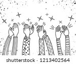human hands clapping ovation.... | Shutterstock .eps vector #1213402564