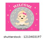 celebration welcome for baby... | Shutterstock .eps vector #1213403197
