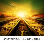 railway track and cargo plane... | Shutterstock . vector #1213405861