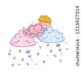 kid on clouds cartoon | Shutterstock .eps vector #1213427314