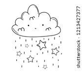 cute cloud cartoon in black and ...   Shutterstock .eps vector #1213427377