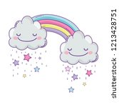 cloud and rainbow cute cartoon | Shutterstock .eps vector #1213428751