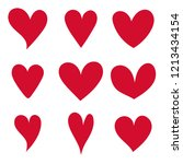 vector set red hearts.draw the... | Shutterstock .eps vector #1213434154