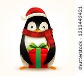 christmas penguin with santa s... | Shutterstock .eps vector #1213443421