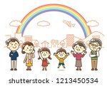 three generations family | Shutterstock .eps vector #1213450534