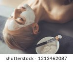 face mask.beautiful young girl... | Shutterstock . vector #1213462087
