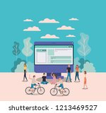 mini people working in computer ... | Shutterstock .eps vector #1213469527
