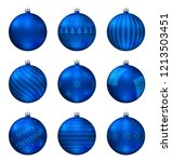 blue christmas balls isolated... | Shutterstock .eps vector #1213503451