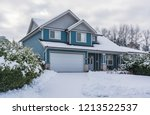 family house with front yard in ... | Shutterstock . vector #1213522537