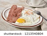 a gourmet fried egg breakfast... | Shutterstock . vector #1213540804