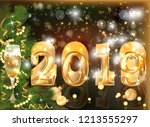 golden new 2019 year greeting... | Shutterstock .eps vector #1213555297