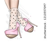 female legs in stylish shoes... | Shutterstock .eps vector #1213557097
