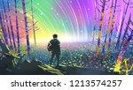 scenery of the explorer looking ... | Shutterstock . vector #1213574257