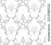 gingerbread. black and white... | Shutterstock .eps vector #1213580131