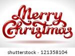 merry christmas hand lettering... | Shutterstock .eps vector #121358104