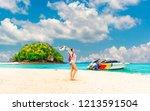 summer lifestyle traveler woman ... | Shutterstock . vector #1213591504