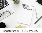 notebook page with 2019 plan... | Shutterstock . vector #1213593727
