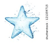 Star From Water Splash Isolate...
