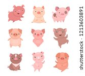 Cute Piggies Collection. Vecto...