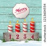 wooden christmas candlestick... | Shutterstock .eps vector #1213604554