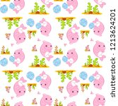 cute vector seamless pattern in ... | Shutterstock .eps vector #1213624201