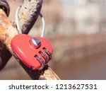red heart shaped lock. hanging... | Shutterstock . vector #1213627531