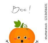 funny cute cartoon pumpkin...   Shutterstock . vector #1213656631