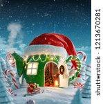 amazing fairy house in red elfs ... | Shutterstock . vector #1213670281