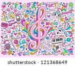 music notes g clef groovy...