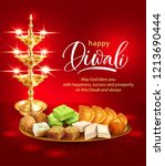 happy diwali background with... | Shutterstock .eps vector #1213690444