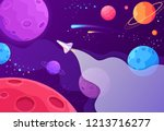 spaceship travel to the new... | Shutterstock .eps vector #1213716277