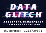glitch font. digital glitched... | Shutterstock .eps vector #1213739971