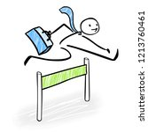 happy business man jumping over ... | Shutterstock .eps vector #1213760461