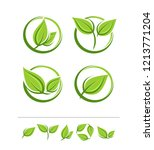set of leaves labels and... | Shutterstock .eps vector #1213771204