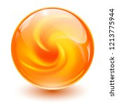 orange glass sphere  3d marble... | Shutterstock .eps vector #1213775944
