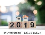 two house model on 2019 wooden... | Shutterstock . vector #1213816624