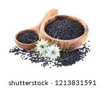 black cumin seeds on  white... | Shutterstock . vector #1213831591
