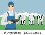 farmer with digital tablet on a ...   Shutterstock .eps vector #1213862581
