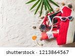 top view traveler accessories... | Shutterstock . vector #1213864567