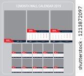 wall calendar 2019. vector...   Shutterstock .eps vector #1213872097