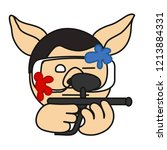 paintball game player pig that... | Shutterstock .eps vector #1213884331